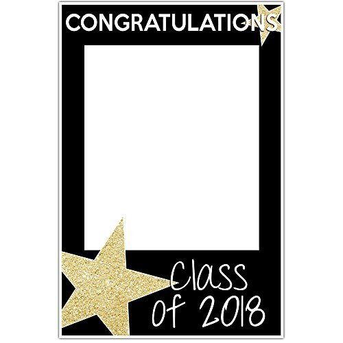 Class of 2018 Graduation Selfie Frame Party Photo Prop Gold Glitter Star Poster