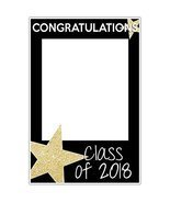 Class of 2018 Graduation Selfie Frame Party Photo Prop Gold Glitter Star... - $16.34