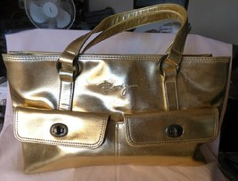 Vintage ROXY Large Satchel Bag Gold Polyvinyl Bright Pink Polyester Lini... - $35.00