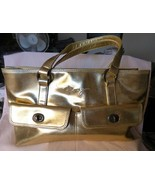 Vintage ROXY Large Satchel Bag Gold Polyvinyl Bright Pink Polyester Lini... - $35.00
