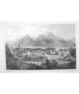 SLOVAKIA Kezmarok View of Town & High Tatras - 1870s Original Engraving ... - $30.22