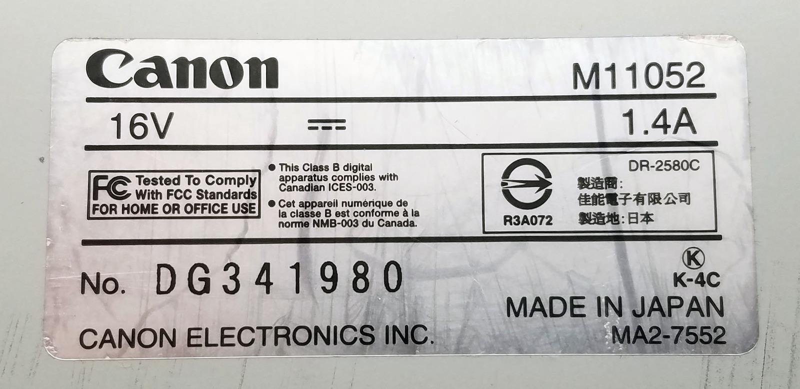Canon DR-2580C Document Scanner Color Duplex 25 Ppm 600 Dpi Bin: 7