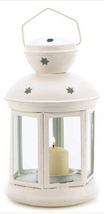 Colonial star white metal glass hanging candle holder patio deck path la... - $14.00