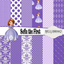 sofia the first inspired Scrapbook Papers, 12 Sheets, Custom Designs - $6.50