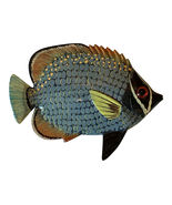 Gray and Yellow Tropical Fish Wall Decor 6 Inches Two Dimensional Painte... - $17.94
