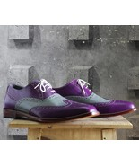 Men's Handmade Purple & Gray Leather Shoes, Men's Wing Tip Hand Stitched... - $144.99+