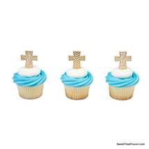 Cross Baptism CupCake Cake Topper 12 18 24 Decoration Christening Religi... - $7.87+