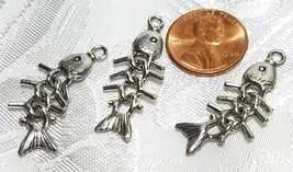 WIGGLY MOVEABLE FISH BONES  FINE PEWTER PENDANT CHARM - 11.5x35x3mm image 2