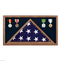 USA MADE SOLID WALNUT WOOD MILITARY FLAG RECTANGLE  DISPLAY CASE SHADOW BOX - $270.74