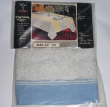 Vtg Parisian Lace New 2 Tone Blue White Tablecloth Vinyl Japan Holiday E... - $43.19
