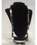 "Black, White, Silver 16"" Flat 1/4"" Lucite Disk Necklace - $10.99"