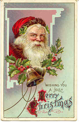 Wishing a Jolly Christmas 1910 Vintage Post Card