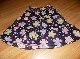 Girls Size 10 Talbot Kids Black Purple Floral Print Skirt Beaded Waist S... - $16.00