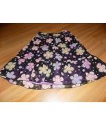 Girls Size 10 Talbot Kids Black Purple Floral Print Skirt Beaded Waist S... - $16.00
