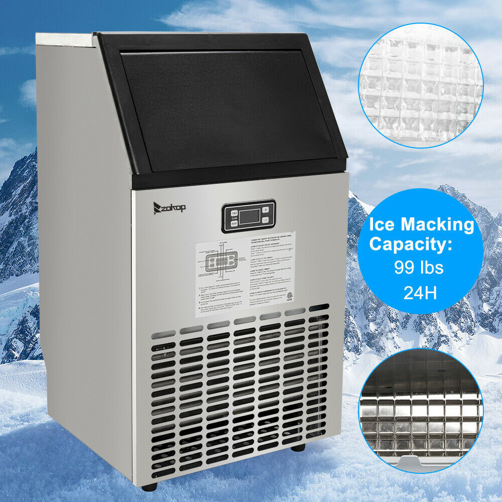 270W-500W 99Lbs 115V 60Hz Stainless Steel Commercial Ice Maker Black US Plug image 6