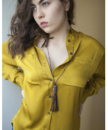 Purple beaded necklace tassel, seed necklace silk tassel, long beaded ne... - $33.15