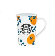 Starbucks Orange Blue Circle Logo Bubble Ceramic Handle Coffee Cup Mug 1... - $22.86