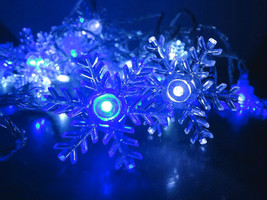 11m Bleu Blanc Flocon de neige Noël Guirlande L... - $16.75