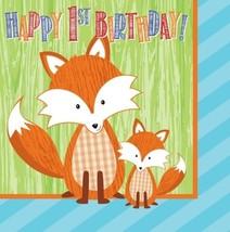 Forest Fox 1st Birthday Lunch Napkins (16) - $5.83