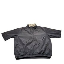 FootJoy Dryjoys Short Sleeve 1/4 Zip Golf Pullover Jacket Size Large Black Rain - $39.99