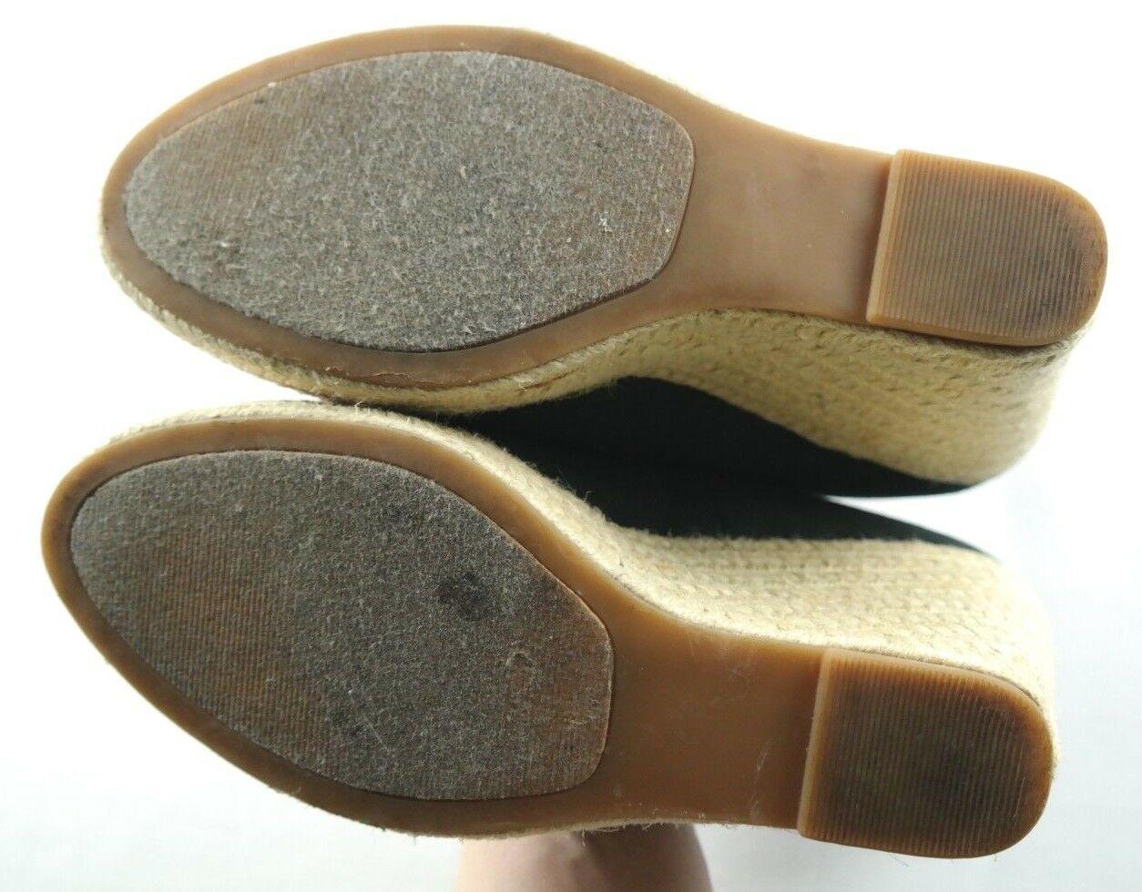 Steve Madden Peep Wedges Womens Size 6 Black Canvas Slip On High Heel Shoes image 8