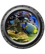 Blue and Yellow Tropical Fish - Porthole Wall Decal - $14.00