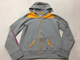 Under Armour Girls XL YXL Gray Orange Zip Front Downtown Hoodie READ - $12.99