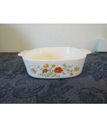 Vtg Corning Ware Casserole Dish Wildflower Orange Poppy Square 2QT A-2-B... - $14.89