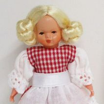 Dressed Little Girl Red Check Caco 1070 Lace Flexible Dollhouse Miniature - $28.79