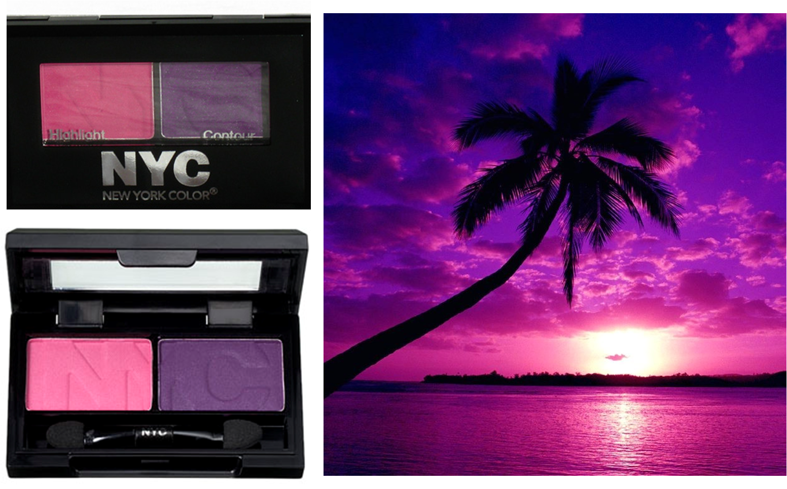 Primary image for NYC CITY DUET Powder Eye Shadow Duo 811B ISLAND SUNSET Pink Purple  0.07 oz NEW!