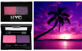 NYC CITY DUET Powder Eye Shadow Duo 811B ISLAND SUNSET Pink Purple  0.07... - $5.62