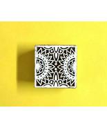 Pattern design sqaure wooden block decorative heena print textile wood s... - $11.81