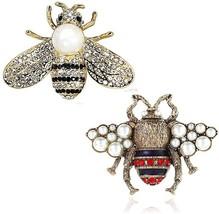 VIEEL 2 Pack Rhinestone Pearl Bee Brooch Pins Honey Bee Pendant/Brooch F... - $22.88