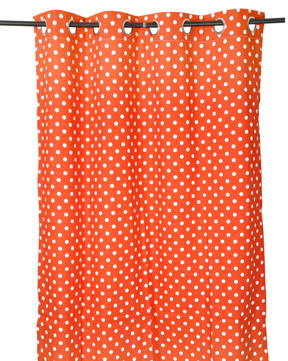 Primary image for 55 x 84 in. Grommet Curtain Polka Dots Coral