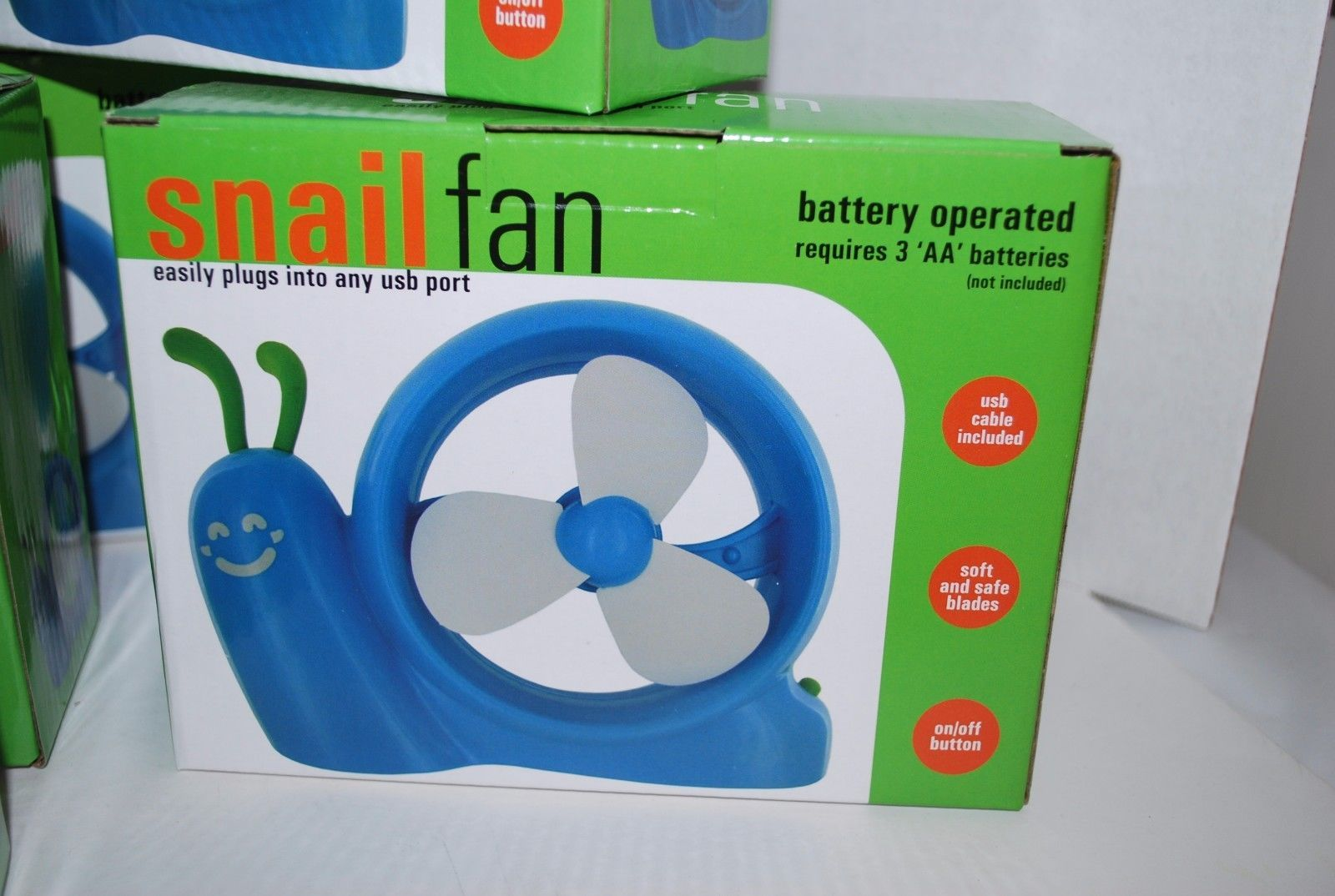 Mini Portable Cooling Fan Blue Snail Shape USB or Battery