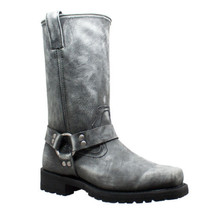 Men's Harness Zipper Boot Stone Motorcycle Leather Boots by Daniel Smart... - $149.95