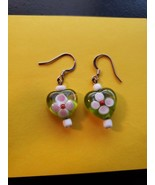 Handmade Green Heart Earrings - $7.99