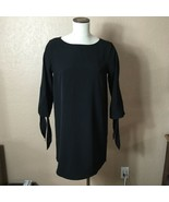 H&M Solid Little Black Dress Size 8 Tunic Shift 3/4 Length Tie End Bell ... - $24.74