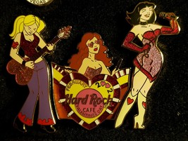 2002 Hard Rock Cafe Happy Valentine's Day hot girls band puzzle pin set HRC - $29.69