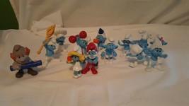 13Pc Lot Peyo 2013 Smurf Collection with Papa Smurf and Smurfette - $18.69