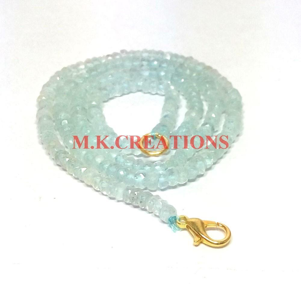 "Primary image for Natural Aquamarine Gemstone 3-4mm Rondelle Faceted Beads 24"" Beaded Necklace"