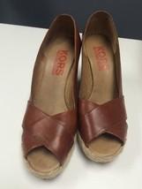 MICHAEL KORS Brown Leather Open Toe Wedge Espadrille Sz 7.5 B2819 - $79.15