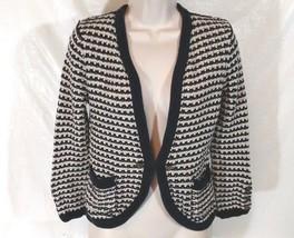 Ann Taylor Loft Cardigan Sweater Crochet Women Size M Blue Tan Cotton 3/... - $18.55