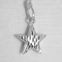 18K WHITE GOLD ROUNDED STAR PENDANT CHARM 20 MM WORKED & SMOOTH, MADE IN ITALY image 1
