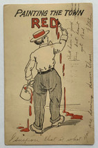 Old Antique Undivided Back Postcard Comic Painting The Town Read Posted ... - $19.55