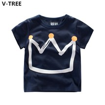 Boys Girls Short Sleeve T Shirts Summer Crown TShirts Children Casual Tops - $13.29 CAD+