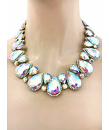 Aurora Borealis Crystals Statement Evening Necklace Earrings, Drag Queen... - $47.45