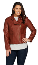 Lisa Rinna Collection Faux Leather Motorcycle Jacket, Cinnamon, Size 2X, $89 - $44.54