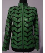 Green Leather Leaf Jacket Women All Colors Sizes Genuine Short Zipper Li... - $115.00