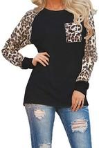 Woman Casual Tops Long Sleeve Leopard Print Patchwork Plus Size T-Shirt ... - $38.21+